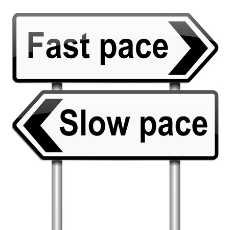 Illustration depicting a roadsign with a lifestyle pace concept. White background. illustration