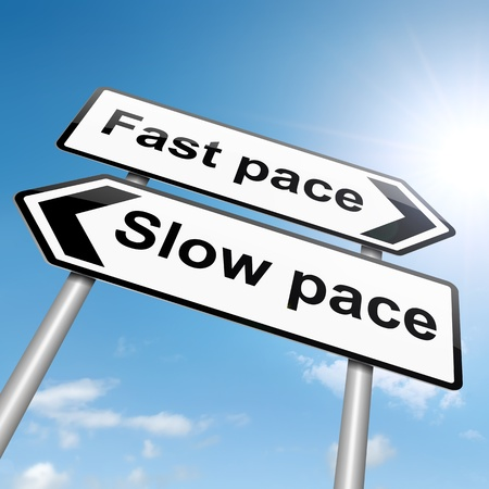 pace: Illustration depicting a roadsign with a lifestyle pace concept. Sky background.