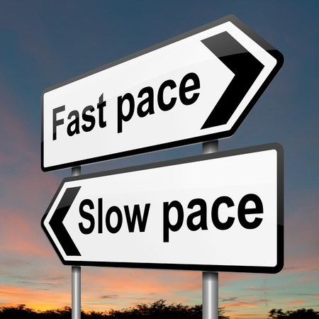 pace: Illustration depicting a roadsign with a lifestyle pace concept. Sunset sky background. Stock Photo