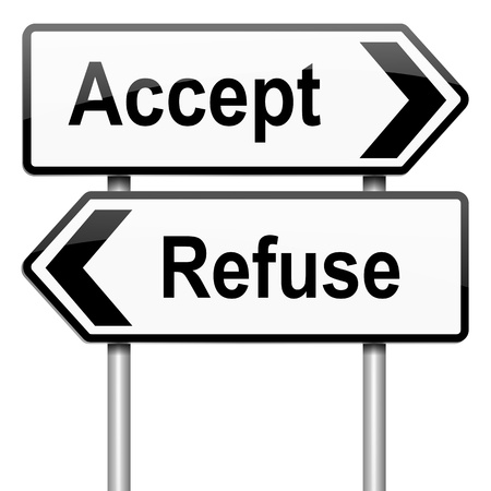 refuse: Illustration depicting a roadsign with an accept or refuse concept. White background. Stock Photo