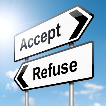 accept: Illustration depicting a roadsign with an accept or refuse concept. Blue sky background. Stock Photo