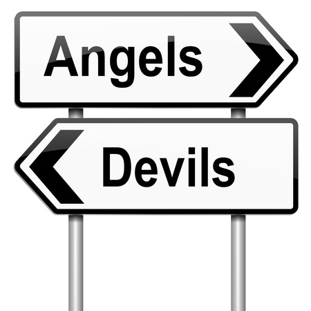depraved: Illustration depicting a roadsign with an angel or devil concept. White background. Stock Photo