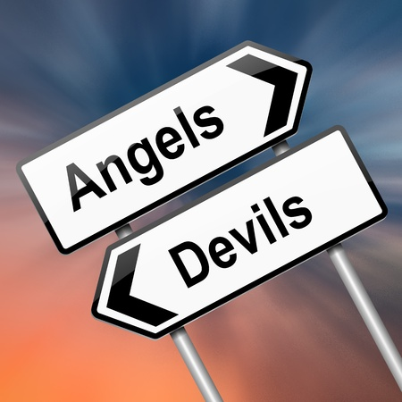 characteristic: Illustration depicting a roadsign with an angel or devil concept. Abstract blur background. Stock Photo