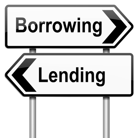 borrower: Illustration depicting a roadsign with a borrow or lend concept. White background.