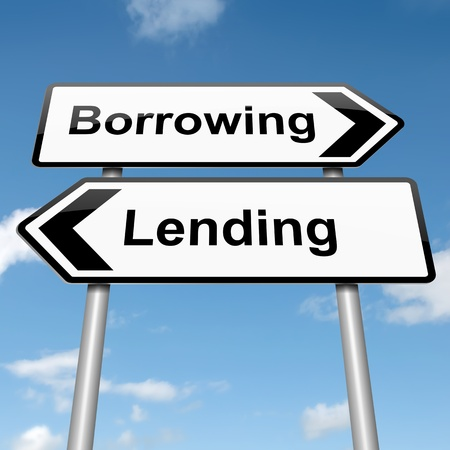 borrowing money: Illustration depicting a roadsign with a borrow or lend concept. Blue sky background.