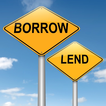 borrowing money: Illustration depicting two roadsigns with a borrow or lend concept. Blue sky background. Stock Photo