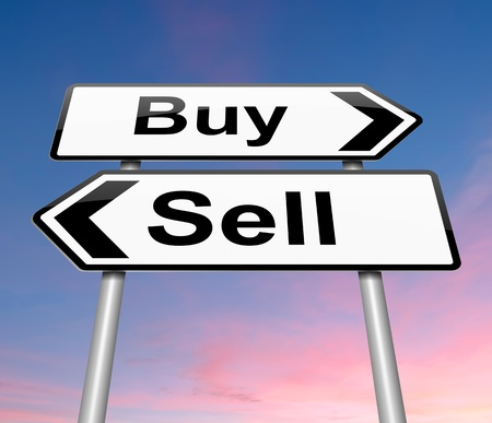 purchasing: Illustration depicting a roadsign with a buy or sell concept. Sunset background.