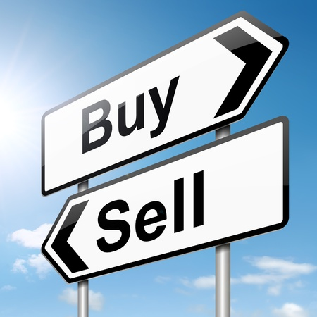 stock trading: Illustration depicting a roadsign with a buy or sell concept. Sky background.