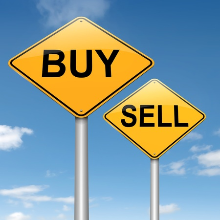 purchasing: Illustration depicting two roadsigns with a buy or sell concept. Sky background.
