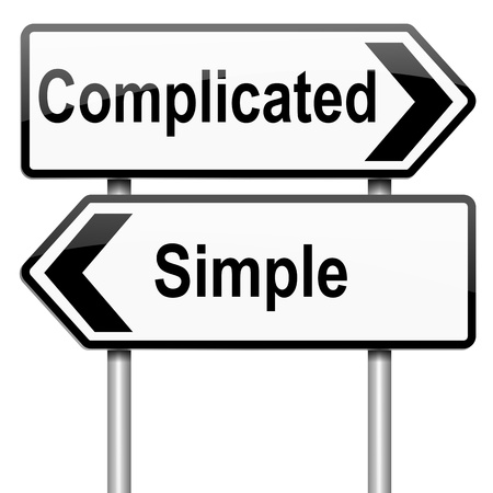 Illustration depicting a roadsign with a complicated or simple concept. White background. illustration