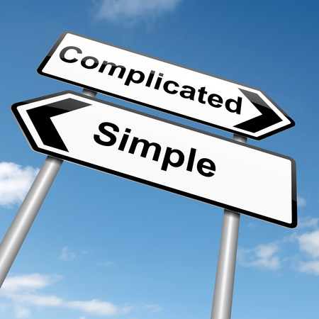 complicated: Illustration depicting a roadsign with a complicated or simple concept. Blue sky background.