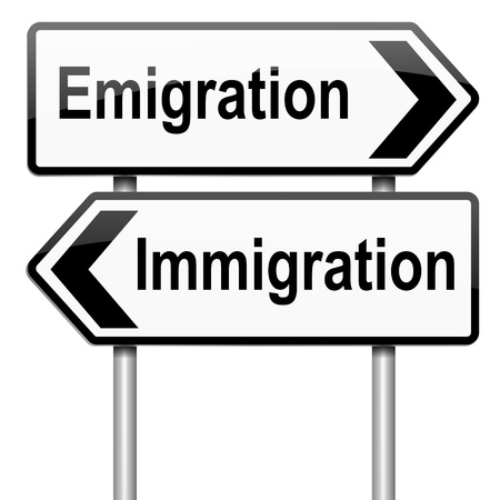 migrate: Illustration depicting a roadsign with an emigration or immigration concept. White background.