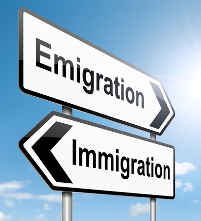 migrate: Illustration depicting a roadsign with an emigration or immigration concept. Sky background.