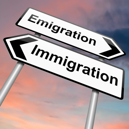 Illustration depicting a roadsign with an emigration or immigration concept. Dusk sky background.