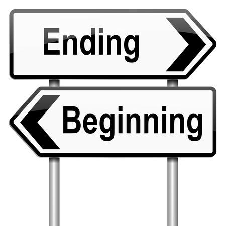 empezar: Ilustración que representa a un roadsign con un concepto de principio ni fin. Fondo blanco. Foto de archivo