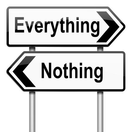 Illustratie afbeelding van een bord met een alles of niets concept. Witte achtergrond. Stockfoto