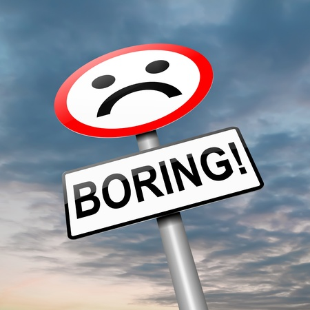 despondent: Illustration depicting a roadsign with a bored concept. Sky background. Stock Photo