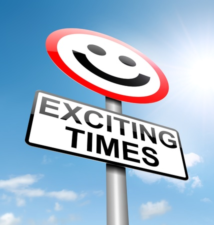 exciting: Illustration depicting a roadsign with an exciting times concept. Sky background.