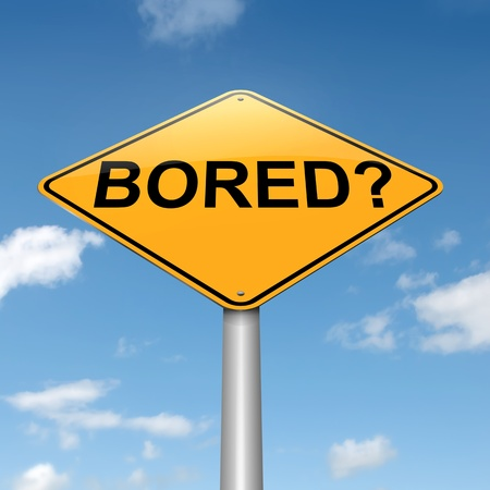 tiresome: Illustration depicting a roadsign with a bored concept. Sky background. Stock Photo