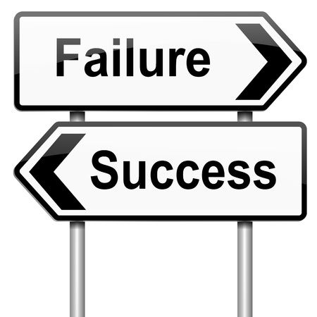 feat: Illustration depicting a roadsign with a failure or success concept. White background. Stock Photo