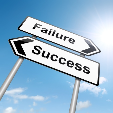 Illustration depicting a roadsign with a failure or success concept. Sky background. Stock Illustration - 15541967