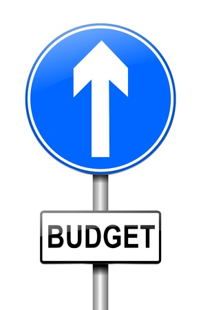 Illustration depicting a roadsign with a budget concept. White background. Stock Illustration - 15541964