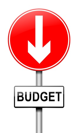 Illustration depicting a roadsign with a budget concept. White background. Stock Illustration - 15541963