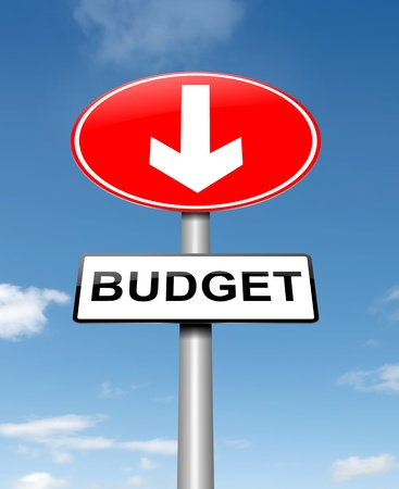 crisis management: Illustration depicting a roadsign with a budget concept. Sky background. Stock Photo