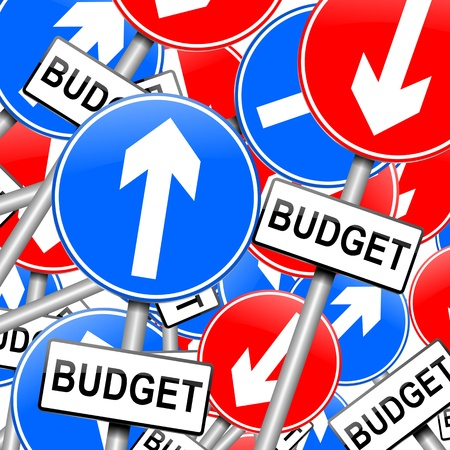 debt management: Abstract illustration depicting many roadsigns with a budget concept.