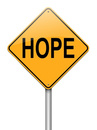 trusting: Illustration depicting a roadsign with a hope concept  White background  Stock Photo