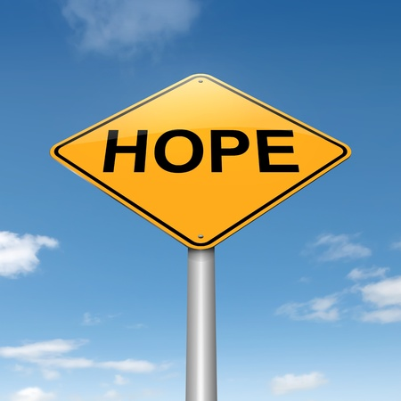 trusting: Illustration depicting a roadsign with a hope concept  Sky background