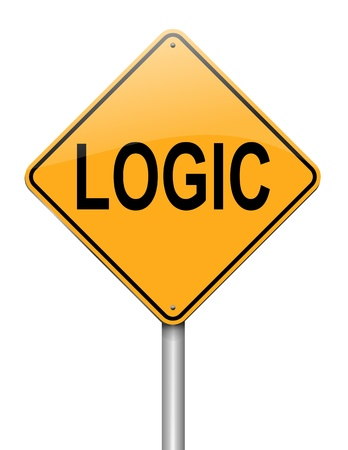 rationality: Illustration depicting a roadsign with a logic concept  White background  Stock Photo