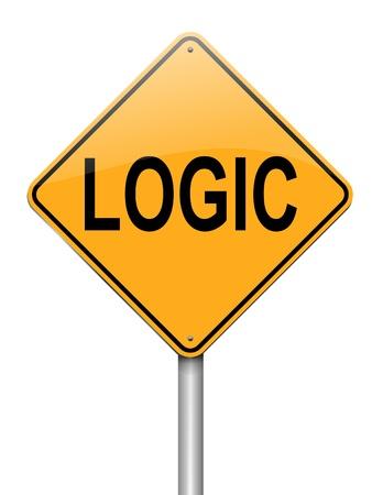 logic: Ilustraci�n que representa a un roadsign con un concepto de fondo blanco l�gica