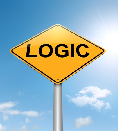 blue sky thinking: Illustration depicting a roadsign with a logic concept  Sky background  Stock Photo