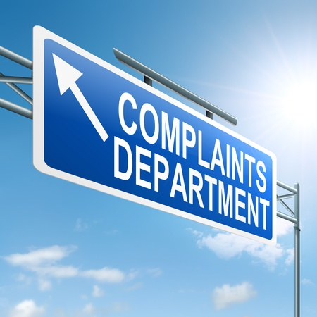 complain: Illustration depicting a roadsign with a complaints department concept  Sky background