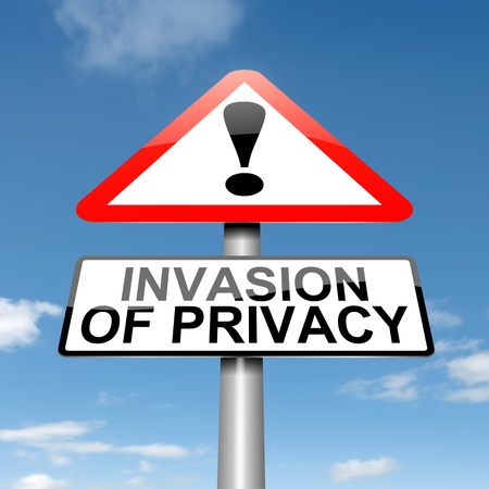 Illustration depicting a roadsign with an invasion of privacy concept  Sky background Stock Illustration - 15569479