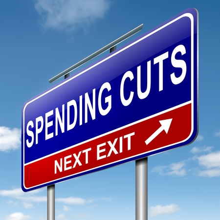 cutback: Illustration depicting a roadsign with a spending cuts concept  Sky  background