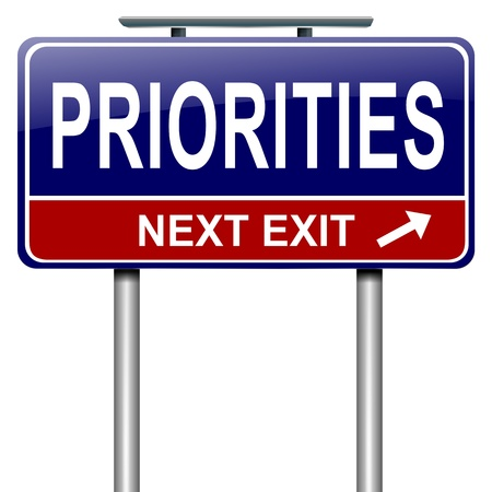 Illustration depicting a roadsign with a priorities concept  White background  illustration