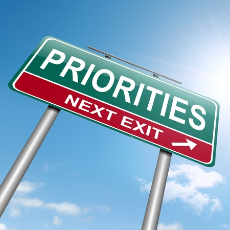 precedence: Illustration depicting a roadsign with a priorities concept  Sky and sunlight background  Stock Photo