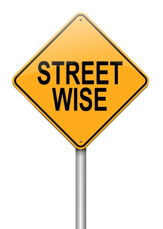perceptive: Illustration depicting a roadsign with a streetwise concept  White background  Stock Photo