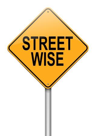 perceptive: Illustrazione raffigurante un cartello stradale con uno sfondo bianco concetto streetwise Archivio Fotografico