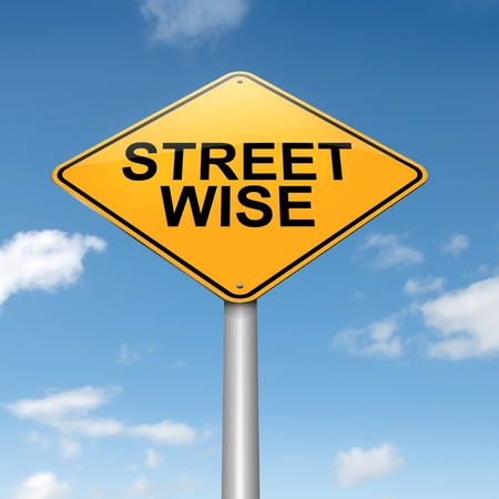 perceptive: Illustration depicting a roadsign with a streetwise concept  Sky background