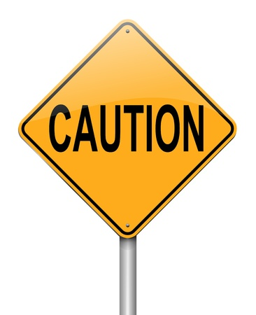 stay alert: Illustration depicting a roadsign with a caution concept  White background  Stock Photo