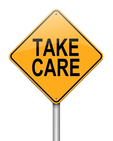 Illustration depicting a roadsign with a take care concept  White background