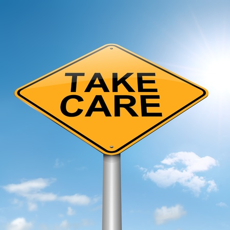 take care: Illustration depicting a roadsign with a take care concept  Sky background  Stock Photo