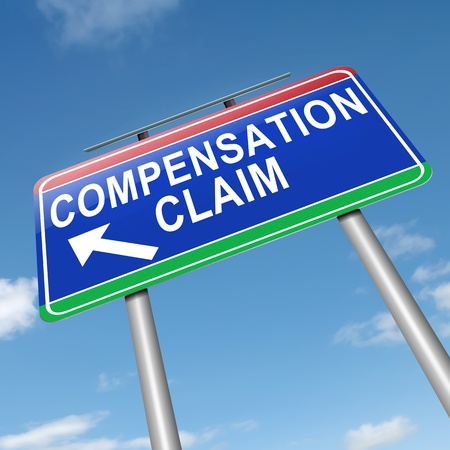 refund: Illustration depicting a roadsign with a compensation claim concept. Sky background.