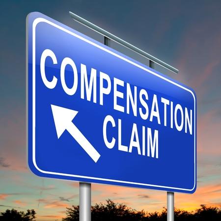 lesionado: Ilustración que representa a un roadsign con un concepto de reclamación de indemnización. Anochecer fondo del cielo.