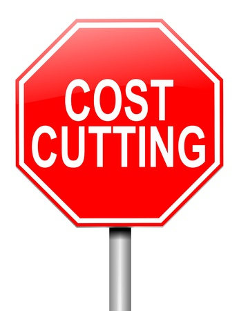 cutback: Illustration depicting a roadsign with a cost cutting concept. White background.