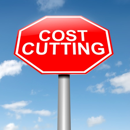 cutback: Illustration depicting a roadsign with a cost cutting concept. Sky background. Stock Photo