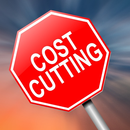 cutback: Illustration depicting a roadsign with a cost cutting concept. Abstract background.